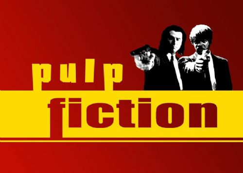 1990's Movie - PULP FICTION - GUNS ON LOGO RED canvas print - self adhesive poster - photo print
